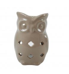 Bruciatore di profumo gufo / gufo in ceramica fatto a mano - beige