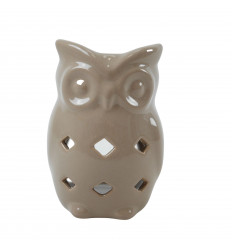 Handmade Ceramic Owl / Owl Perfume Burner - Beige