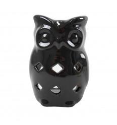 Bruciatore di profumo gufo / gufo in ceramica fatto a mano - nero