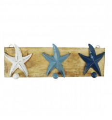 3 tricolor wooden hooks 40x14cm front view