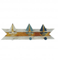 Coat hook for 3 tricolor wooden boats 45x14cm front view