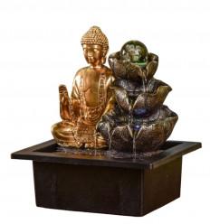 Fontaine d'intérieur Bouddha Arya avec boule en verre et Led