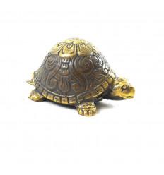 Statuetta di tartaruga terrestre in bronzo massiccio da 8 cm - Modello con retro arrotondato - Vista laterale