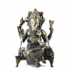 Grande Statue de Ganesh Assis sur son Trône en Bronze Massif 31cm. Artisanat d'Asie