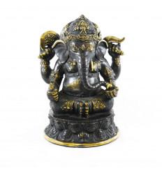 Grande statua di Ganesh in bronzo massiccio 31 cm seduto nella posizione del loto. Pezzo unico