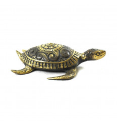 Deco Statuette Sea Turtle in Solid Bronze 12cm - profile view