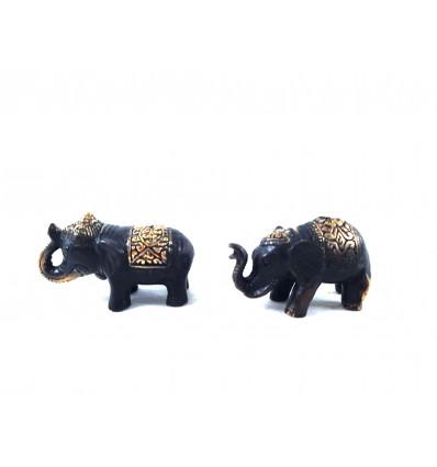 Lot of 2 mini Statuettes Elephants in Solid Bronze 6cm
