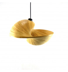 Design Unrolled Bamboo Chandelier / Suspension Ø 30cm - Coï Model - Artisanal Creation - face