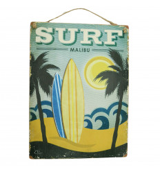 Surf Malibu handcrafted wooden wall plaque 40x30cm