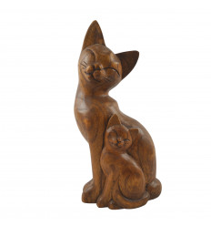 Statue couple of cats in hand-carved stained wood 32cm