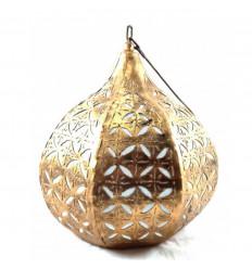 Ciondolo / lampadario marocchino in ferro battuto dorato in stile etnico orientale