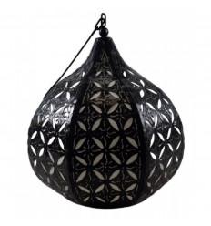 Sospensione / lampadario marocchino in ferro battuto e tessuto in stile etnico orientale