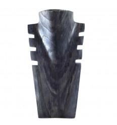 Buste Cranté en Bois Noir Vintage 25cm - Présentoir à Colliers