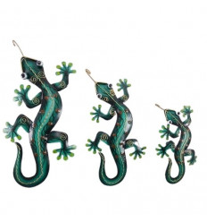 Set of 3 Handcrafted Wrought Iron Salamanders / Geckos. Wall decoration.
