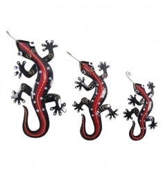 Set of 3 Handcrafted Wrought Iron Salamanders / Geckos