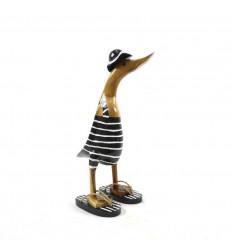 Decorative wooden duck 35cm - Black swimsuit - 3/4