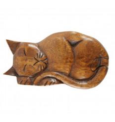 Secret box Cat in tinted suar wood