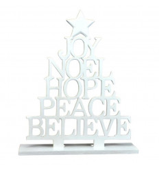 Christmas tree decoration wood table white H30cm.
