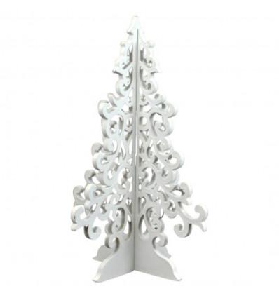 Sapin de Noël en bois 30cm style baroque. Déco Noël artisanale.
