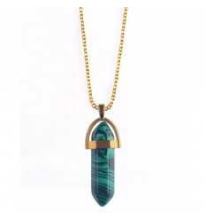 Necklace with pendant edge in Malachite natural. Protection, healing, and clairvoyance.
