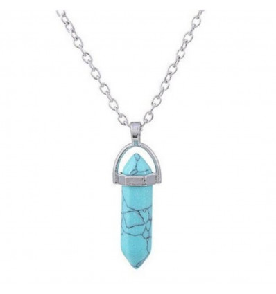Necklace with pendant edge in Turquoise natural. Protection and Purification.