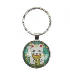 Key holder cabochon Maneki Neko White Lucky Cat