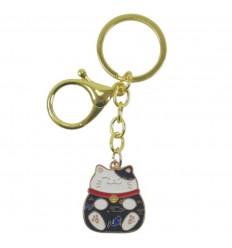 Maneki Neko Black Golden Keyring - Gatto Fortunato