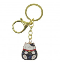 Maneki Neko Black Golden Keyring - Lucky Cat