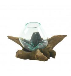 Vase en verre soufflé sur racine de teck 22cm - Pièce unique