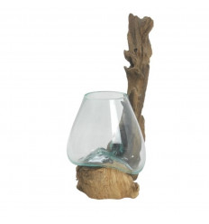 Vase en verre soufflé sur racine de teck 23cm - Pièce unique