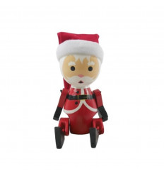 Santa Claus articulated in red and white wood - face