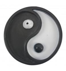 Porte-encens rond noir et blanc pour bâtons - Symbole Yin Yang