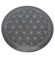 Black and white round incense holder in soapstone - Symbol flower of life