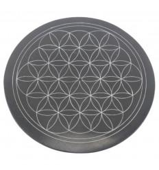 Porte-encens rond noir et blanc en Pierre à savon - Symbole fleur de vie