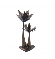 Candlestick / photophore palm in brown wrought iron 50cm - Handcrafted creation