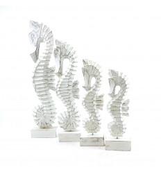 Lot of 4 white wooden seahorses - Marine decoration - profile
