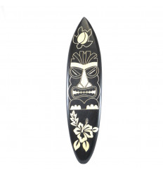 Large wooden surfboard - Tiki pattern wall decoration 100cm
