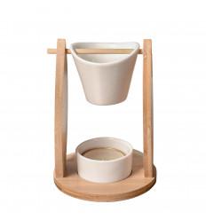 """Brûle Parfum """"Voile"""" en bambou et céramique"""