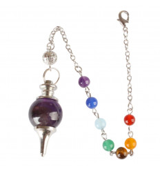 Pendulum séphoroton amethyst and 7 chakras. Esotericism, magnetism.