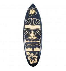 Wooden surfboard - Tiki pattern wall decoration 50cm - face