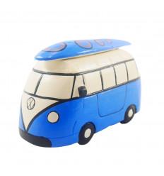 Tirelire Combi Van vintage en bois bleu - Fabrication artisanale - 3/4