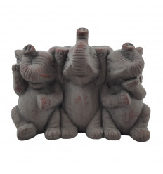 "Candle holders ""3 Buddhas of wisdom"" in cement grey"