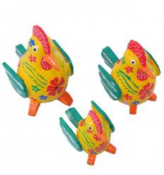 Lot de 3 poules jaunes rouges en bois