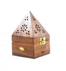 Boîte à encens pour cônes - porte encens à tiroir forme pyramide décor Eléphant - 3/4