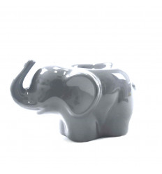 Elefante profumo ardente in ceramica artigianale grigia - profilo