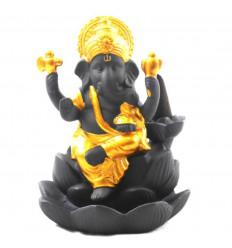 Fontana incenso in ceramica nera e oro Statuetta ganesh - viso