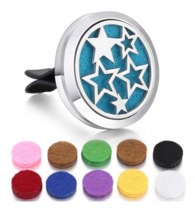 Perfume diffuser for clip car - 10 blotters - Model Silver Stars