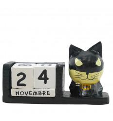 Supereroe calendario gatto perpetuo in legno nero - Batman - viso