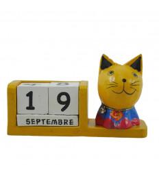 Calendrier perpétuel chat super héros en bois jaune - Superman - face