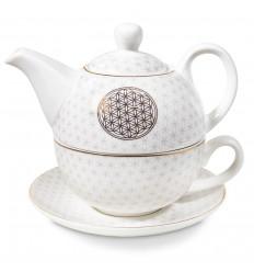Set for tea - Teapot and cup. Green Mandala pattern.